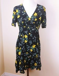Zara Basics Black Dress with Yellow Flowers